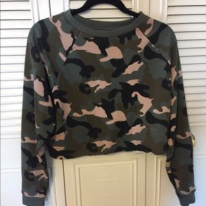 Camo Long Sleeve Slightly Cropped Top